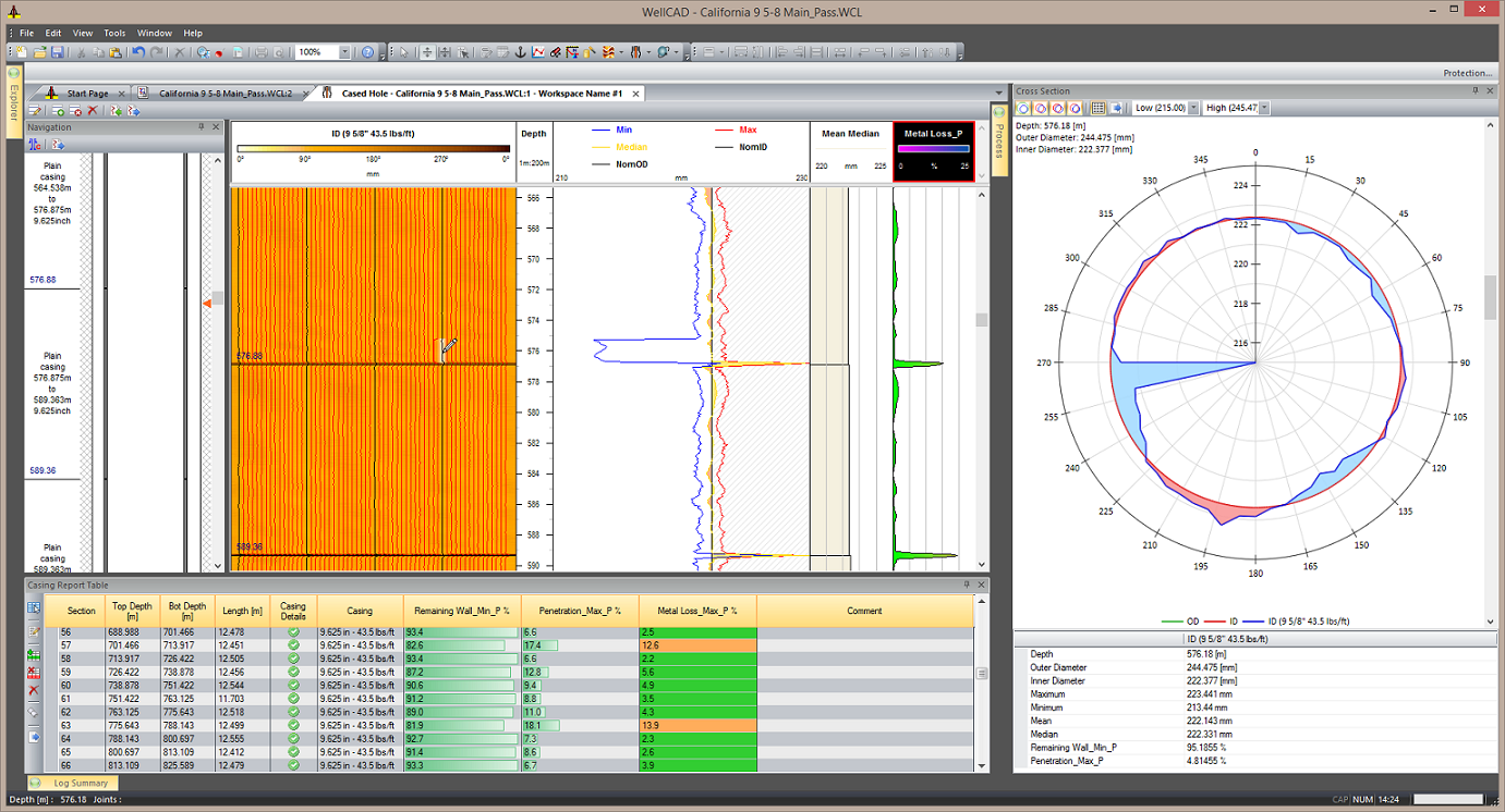 Casing Integrity Workspace for WellCAD Software